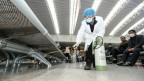 Ein Arbeiter desinfiziert einen Bahnhof in Chinas Provinz Jiangxi.