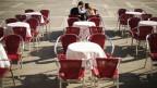 Ein leeres Restaurant auf dem Markusplatz in Venedig/Italien.