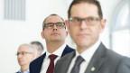 Ueli Fisch (GLP, links im Bild) schaffte es nicht in die Thurgauer Regierung. Dafür Urs Martin (SVP, Bildmitte), der Jakob Stark (SVP, rechts im Bild) ersetzt.
