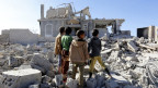 Zerstörte Gebäude in Jemen.