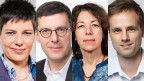 Die Korrespondentinnen und Korrespondenten Isabelle Jacobi in Washington, Franco Battel in Rom, Susanne Brunner in Amman und Martin Aldrovandi in Hongkong (vlnr.)