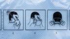 Anleitung für das korrekte Aufsetzen einer FFP2 Atemschutzmaske.