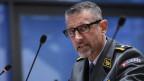 Raynald Droz, Brigadier, Stabschef Kommando Operationen VBS, spricht während einer Medienkonferenz zur Situation des Coronavirus (COVID-19), am Freitag, 24. April 2020 in Bern.