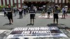 Demonstration in Manila zur Unterstützung der Pressefreiheit und des Multimedianetzwerks ABS-CBN.