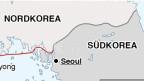 Symbolbild. Ausschnitt einer Karte mit der Grenze zwischen Süd- und Nordkorea.