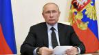 Der russische Präsident Wladimir Putin an einer Videokonferenz.