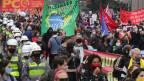 Demonstrationen von Fussballfans in Sao Paulo, Brasilien.