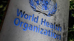 Das WHO-Logo am Hauptsitz in Genf.
