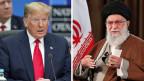 US-Präsident Donald J. Trump (li.) während eines NATO-Gipfels in London und den iranischen Staatschef Ali Khamenei, während einer Live-Fernsehansprache in Teheran, Iran. Archivaufnahmen.