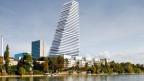 Die undatierte Computeranimation zeigt den vom Pharmakonzern Roche in Basel geplanten 175 Meter hohen Bueroturm des Basler Architekturbueros Herzog & de Meuron, Mitte.