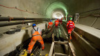 Einbau der Bahntechnik im Gotthard-Basistunnel, am 2. April 2013.