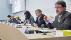 Medienkonferenz des überparteilichen Komitees «Ja zu einem funktionierenden Asylwesen» am 23. April in Bern.