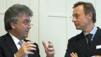 Patrick Aebischer, Präsident EPFL, links, und Unternehmer Enesto Bertarelli.