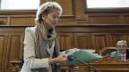 Finanzministerin Eveline Widmer-Schlumpf, kurz vor der Ständeratsdebatte. In den nächsten Stunden wird sich zeigen, ob ihre wochenlange Arbeit für die Katz war, oder ob die «Lex USA» doch noch die erste Hürde nimmt.