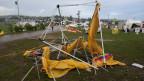 Das Gelände des Eidgenössischen Turnfests in Biel ist am Donnerstagabend, 20.6.2013,  erneut von heftigen Sturmwinden heimgesucht worden. Nachdem ein Unwetter bei der Eröffnungsfeier lediglich Materialschäden zur Folge hatte, gab es diesmal 39 Verletzte.