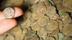 Ein Schatz mit römischen Münzen im Britischen Museum in London. Im Kanton Baselland wurden keltische Münzen gefunden.
