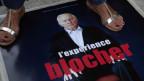 Poster des Dokumentarfilm «L'expérience Blocher» am 66. Filmfestival in Locarno.
