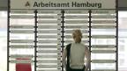 Die Ausbildung von ausländischen Jugendlichen in der Schweiz macht nur Sinn, wenn diese dann auch in den Schweizer Arbeitsmarkt integriert werden könnten. Eine junge Frau informiert sich in einem Arbeitsamt in Hamburg.