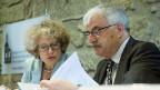 Corine Mauch, Stadtpräsidentin von Zürich und Vizepräsidentin des Städteverbandes und Marcel Guignard, Stadtpräsident von Aarau und Präsident der Städteverbandes, an der Medienkonferenz vom 26. August in Bern.