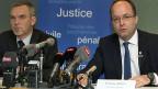 Medienkonferenz der Genfer Staatsanwaltschaft: Polizeichef François Schmutz und Generalstaatsanwalt Olivier Jornot.