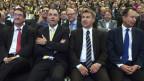 Die Parteipräsidenten Christian Levrat, SP, Christophe Darbellay, CVP,  Toni Brunner, SVP und Philipp Müller, FDP, von links, am Swiss Economic Forum am 7. Juni 2013 in Interlaken.