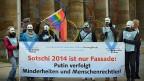 Protest gegen die Olympischen Winterspiele 2014 in Sotschi.