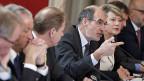 Die Spitzen der grossen Schweizer Wirtschaftsverbände haben sich gefunden – zu einem gemeinsamen Nein zur SVP-Masseneinwanderungs-Initiative. Am Mikrofon: Jacques Bourgois, Direktor des Bauernverbandes.