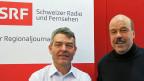 Dieter Kohler, Leiter des Regionaljournals Basel und Urs Siegrist, Redaktor Tagesgespräch.