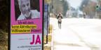 Ein Plakat wirbt für ein Ja zur Volksinitiative «Abtreibungsfinanzierung ist Privatsache» vom  9. Februar 2014 in Luzern.