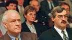 Fritz Blaser, Präsident des Arbeitgebervrbands und Vasco Pedrina, Co-Präsident des Gewerkschaftsbundes auf einem Bild vom Juni 1998.