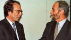 Jakob Kellenberger (rechts), 1997 als Staatssekretär mit EU-Verhandlungsführer François Lamoureux - vor Beginn der Bilateralen Verhandlungen zwischen der Schweiz und der EU in Brüssel.