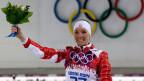 Die Bünderin Selina Gasparin gewann die Silbermedaille für Biathlon 15 km Einzelrennen der Frauen, bei den Olympischen Winterspielen 2014, am 14. Februar 2014, in Krasnaja Poljana, Russland.