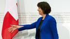 Verkehrsministerin Doris Leuthard während der Medienkonferenz zur Schaffung eines Nationalstrassen- und Agglomerationsverkehrs-Fonds.