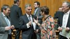 Bundespräsident Didier Burkhalter (Mitte)  während der Beratungen zum Aussenpolitischen Bericht im Nationalrat.
