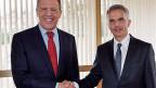 Der russische Aussenminister Lawrow und Bundespräsident Didier Burkhalter, am 3. März in Genf.