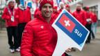 Christoph Kunz vom Schweizer Ski-alpin-Team posiert im Olympischen Dorf Rosa Khuthor in Russland. Die Paralympischen Winterspiele Sotschi 2014 starten am Freitag, 7. März 2014.
