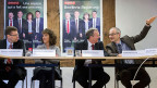 Berns grün-rote Regierungsräte: Andreas Rickenbacher, SP; Barbara Egger, SP; Philippe Perrenoud, SP und Bernhard Pulver, Grüne machen Wahlkampf unter dem Motto: «Bewährte Regierung».