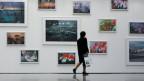 Eine Besucherin betrachtet  im Kunsthaus Zürich die erste Retrospekitve «Fragen und Blumen» der zeitgenössischen Künstler Peter Fischli und David Weiss.
