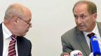 Oberjugendanwalt Marcel Riesen und Regierungsrat Martin Graf informieren am 6. September 2013 über den Fall Carlos. Vor allem Regierungsrat Graf steht jetzt in der Kritik.