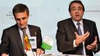 Der Genfer Regierungsrat François Longchamp und sein Waadtländer Kollege Pascal Broulis.