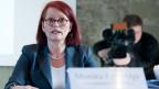 Monika Egli-Alge, Geschäftsführerin des Forensischen Instituts Ostschweiz an einer Pressekonferenz im März 2012