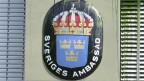 Logo der schwedischen Botschaft in Bern.