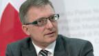 Markus Seiler, Direktor Nachrichtendienst des Bundes (NDB) an der Medienkonferenz des NDB am 5. Mai 2014 in Bern. Der involvierte Mitarbeiter hatte eine gültige Sicherheitsüberprüfung der höchsten Stufe.