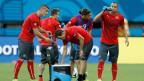 Von rechts: Gökhan Inler, Ricardo Rodriguez, Stephan Lichtsteiner, Xherdan Shaqiri und Granit Xhaka beim Training der Schweizer Fussball-Nationalmannschaft in der Arena da Amazonia in Manaus, Brasilien, am 24. Juni 2014.
