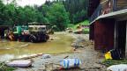 In Schangnau im Emmental  stehen nach heftigen Regenfällen Teile des Dorfes unter Wasser, viele Keller wurden geflutet.