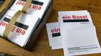 Unterschriftsbögen für die Fusionsinitiative «Ein Basel».