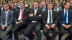 Martin Landolt, BDP; Christian Levrat, SP; Christophe Darbellay, CVP; Toni Brunner, SVP; Philipp Müller, FDP.
