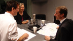 SP-Nationalrätin Prisca Birrer-Heimo und SVP-Nationalrat Thomas Aeschi (r.) im Studio.