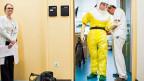 Bei jedem Gang ins Zimmer eines Ebola-Patienten sind drei Personen involviert:  Zwei helfen sich gegenseitig beim Anziehen der Schutzanzüge mit Atmungsgeräten, eine dritte beobachtet mit einer Check-Liste in der Hand die Abläufe und greift ein, wenn der Ablauf nicht genau eingehalten wird.