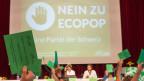 Die Delegierten der Grünen stimmen am 23. August 2014 an der DV in Rotkreuz über die Ecopop-Initiative ab.